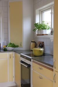 platsbyggt gult retro kök